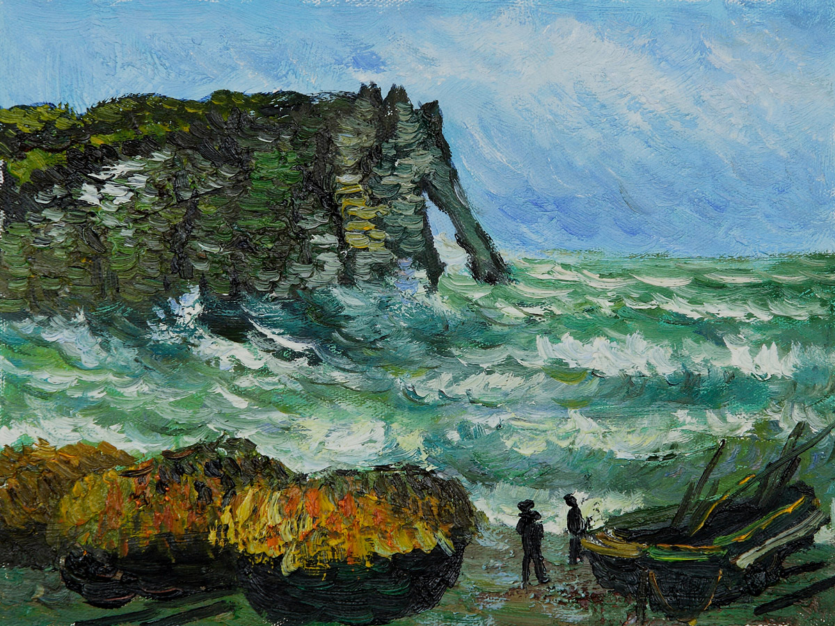 Rough Sea At Etretat-Claude Monet Painting